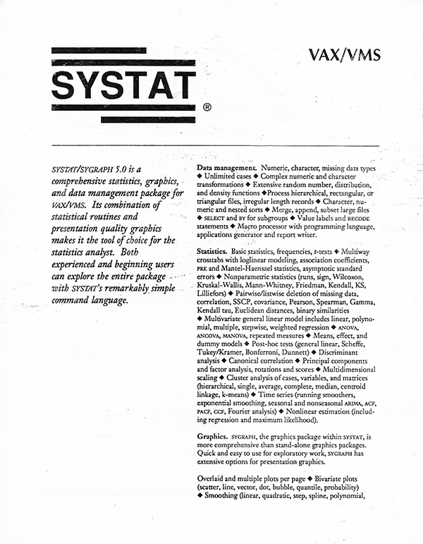 SYSTAT, Inc. sales brochure