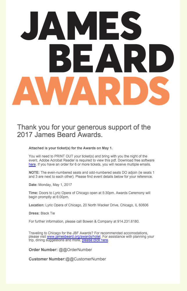 James Beard Foundation Email